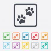 Paw sign icon. Dog pets steps symbol. — Stock Vector