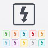 Icono de signo flash foto. símbolo del rayo. — Vector de stock