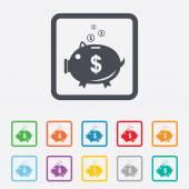 Piggy bank sign icon. Moneybox symbol. — Stock Vector