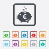 Piggy bank sign icon. Moneybox symbol. — Stok Vektör
