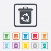 Recycle bin icon. Reuse or reduce symbol. — Stock Vector