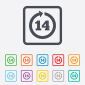 Return of goods within 14 days sign icon. — Stock Vector