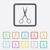 Icono de signo de peluquería tijeras. símbolo de sastre. — Vector de stock