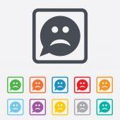 悲伤的脸标志图标。悲伤符号. — 图库矢量图片