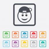 Smile rapper face icon. Smiley symbol. — Stock Vector