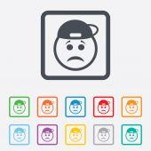 Sad rapper face sign icon. Sadness symbol. — Stock Vector