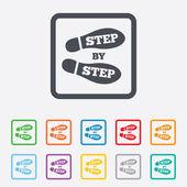 Ikona znak krok po kroku. ślad buty symbol. — Wektor stockowy