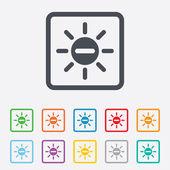 Sun minus sign icon. Heat symbol. Brightness. — Stock Vector