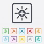 Sun plus sign icon. Heat symbol. Brightness. — Stock Vector