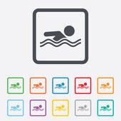 Swimming sign icon. Pool swim symbol. — Stock Vector