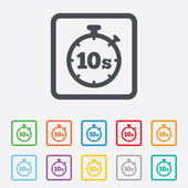 Timer 10s sign icon. Stopwatch symbol. — ストックベクタ
