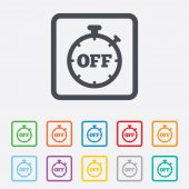Timer off sign icon. Stopwatch symbol. — ストックベクタ