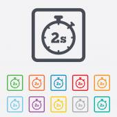 Timer 2s sign icon. Stopwatch symbol. — Vector de stock