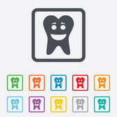 Tooth happy face sign icon. Healthy tooth — Stock Vector