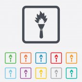 Torch flame sign icon. Fire symbol. — Stock Vector