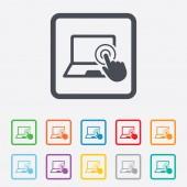 Touch screen laptop sign. Hand pointer symbol. — Vector de stock
