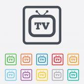 Retro TV sign icon. Television set symbol. — Stock Vector