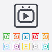 Retro TV mode sign icon. Television set symbol. — ストックベクタ