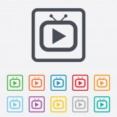 Retro TV mode sign icon. Television set symbol. — Vecteur