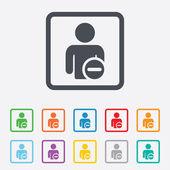 Delete user sign icon. Remove friend symbol. — Vettoriale Stock