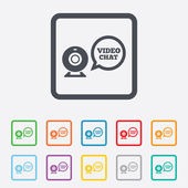 Video chat sign icon. Webcam video speech bubble — Stock Vector