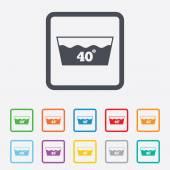 Wash icon. Machine washable at 40 degrees symbol — Stock Vector