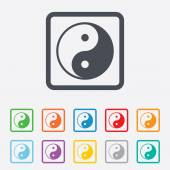 Ying yang sign icon. Harmony and balance symbol. — Stock Vector