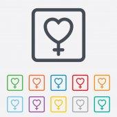 Icono de signo femenino. botón de sexo de mujer. — Vector de stock