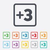 Plus three sign. Add three symbol. — Stock Vector