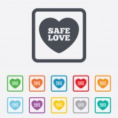 Safe love sign icon. Safe sex symbol. — Stock Vector