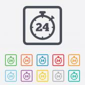 24 hours Timer sign icon. Stopwatch symbol. — Vector de stock