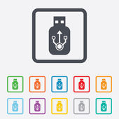 Usb sign icon. Usb flash drive stick symbol. — Stock Vector