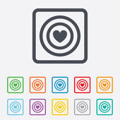 Målet chattikon tecken. dart styrelse symbol. — Stockvektor