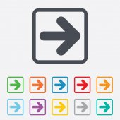 Icono de signo de la flecha. botón siguiente. símbolo de la navegación — Vector de stock