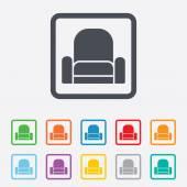 Armchair sign icon. Modern furniture symbol. — Stockvektor