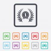 First place award sign icon. Prize for winner. — Stock Vector