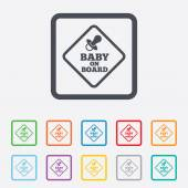 Baby on board sign icon. Infant caution symbol. — Stock Vector