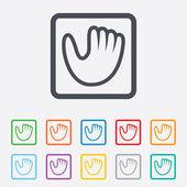 бейсбольная перчатка подписывает символ. спортивный символ. — Cтоковый вектор