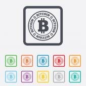 Bitcoin sign icon. Cryptography currency symbol — Stock Vector