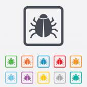 Bug sign icon. Virus symbol. Software bug error — Stock Vector