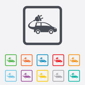 Electric car sign icon. Hatchback symbol. — Stock Vector