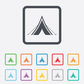 Tourist tent sign icon. Camping symbol. — Stock Vector