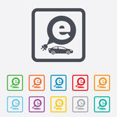 Electric car sign icon. Sedan saloon symbol. — Stock Vector