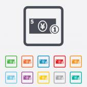 Cash sign icon. Yen Money symbol. Coin. — Wektor stockowy