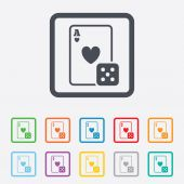 Casino sign icon. Playing card with dice symbol — Stock Vector