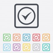 Check mark sign icon. Yes circle symbol. — Stock Vector