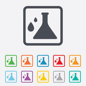 Chemistry sign icon. Bulb symbol with drops. — Stock Vector