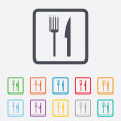 Eat sign icon. Cutlery symbol. Fork and knife. — Stock Vector #57205055