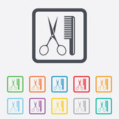 Comb hair with scissors sign icon. Barber symbol — Stock Vector