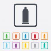 ícone de sinal do preservativo sexo seguro. símbolo de amor seguro. — Vetor de Stock